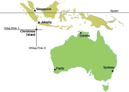 christmas island is an australian island in the indian ocean located 2600km from perth and 380km from jakarta